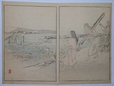 JAPANESE STORIES - THE JETTY : An Original Meiji 1880s Japanese Woodblock Print