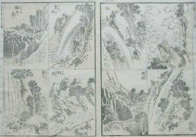 HOKUSAI MANGA - EIGHT WATERFALLS -  An Original Woodblock Print (Woodcut)