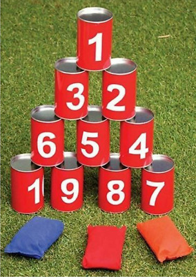 Tin Can Alley Family Skill Garden Game Hit The 10 Cans Throwing 3 Bean Bags 1227