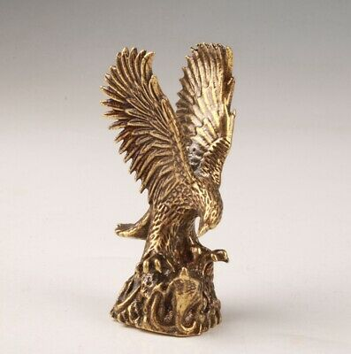 Rare Bronze Handmade Carving Eagle Statue Figurine Old Collection Decoration