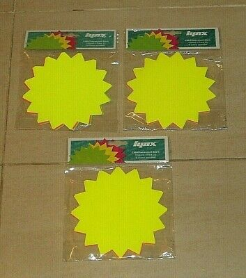 "NEON FLUORESCENT STARS x 3 PACKETS OF 20 x 150mm / 6"" ASSORTED COLOURS LYNX BNIP"