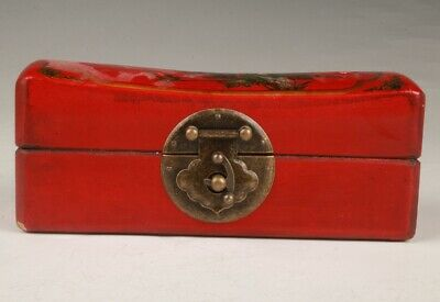 Chinese Red Leather Jewelry Box Paintings Flower Bird Craft Dowry Gift Craft