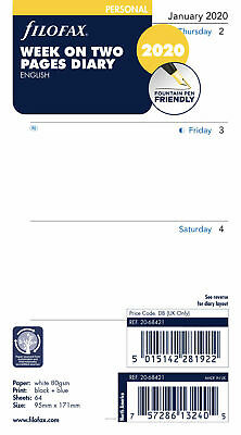 2020 Filofax Personal Size Week on Two Pages Calendar - (20-68421) - English