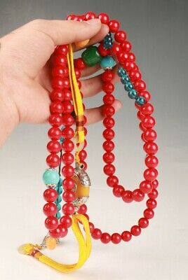 CHINESE RED CORAL JADE AGATE HAND CARVING TIBETAN BUDDHIST NECKLACE SPIRITUAL  z
