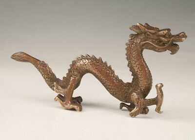 Chinese Bronze Hand Casting Dragon Statue Spiritual Decoration Gift Collection