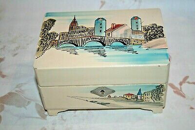 Vintage 1950s 60s Wooden Musical Jewellery Box French Hand Painted Scene Kitsch