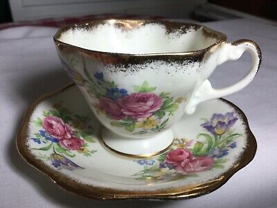 Eb Foley Bone China Pedestal Cup And Saucer England     Foley Tulip Pattern