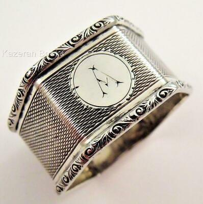 """Antique Hexagonal Sterling Silver Napkin Ring 1933 Crisford & Norris """"A"""""""