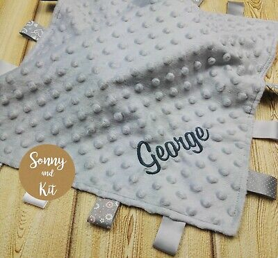Personalised Comfort Blanket Satin Taggie, Embroidered, Custom Baby Gift, Grey
