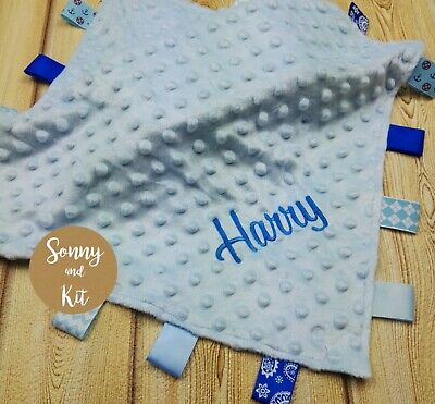 Personalised Comfort Blanket Satin Taggie Embroidered Baby Boy Blue Custom Gift