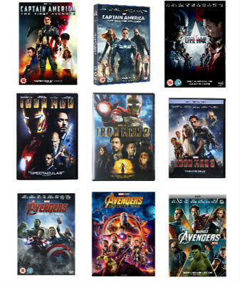 9 Marvel DVD Lot Movie Avengers Captain America Iron Man 1 2 3 Collection Bundle