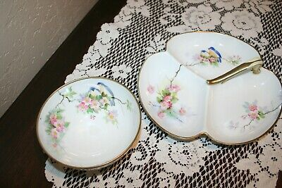 Pretty Vintage Nippon Moriage Nut Bowl and Candy Dish with Pretty Birds