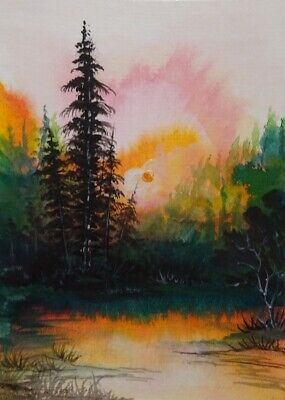 Sunrise -Original100% Hand Painted Aceo Acrylic Watercolor Painting Canvas Card