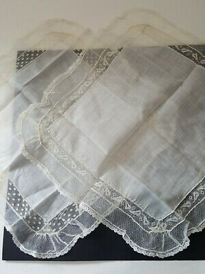 Antique Vintage Victorian Lace Wedding Hanky Lot of 2