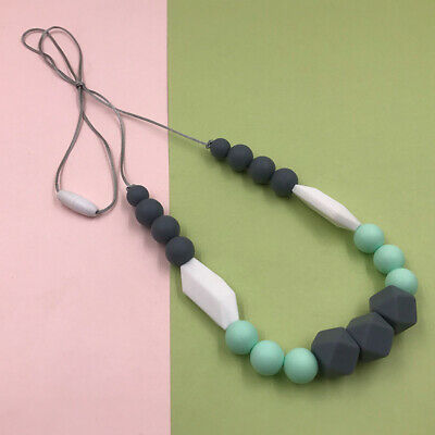 AU Silicone Beads Pacifier Clip Baby Teething DIY Teether Necklace For Mom Baby