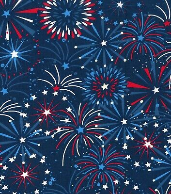 Patriotic Fabric - Red White and Blue Fireworks - Cotton YARD