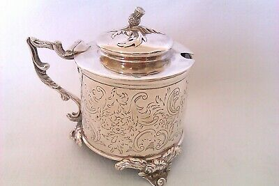 Rare & Beautiful Solid Silver Victorian Cylinder Thistle Finial Mustard Pot 1842