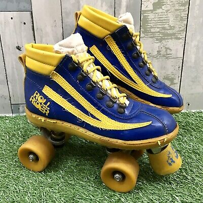 Vintage Retro 1970s Unisex Blue & Yellow Roll Rider Roller Skates Boots Size 7