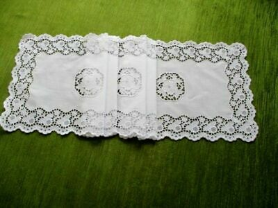 Pretty Vintage Table Runner - Chemical Lace - White Cotton