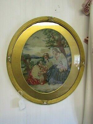 Superb Antique French Tapestry Wool Needlework Picture In Orig Oval Gilt Frame