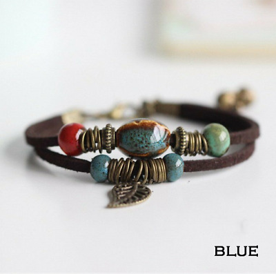 Women Men Boho Vintage Double Layer Rope Leather Leaf Beads Bracelet Jewelry