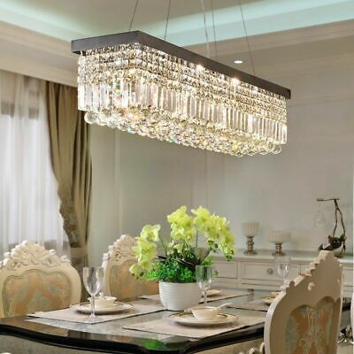 80cm Rectangle K9 Crystal Chandelier Modern Home Bar Pendant Lamp Lighting Decor