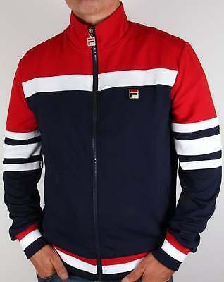 Fila Vintage Vilas Track Jacket in Navy Red White - Court Courto Track Top Dyer