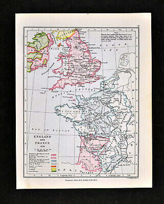 1892 Map of England & France in 1259 King Henry III Brittany Original Antique