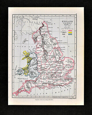1892 Map of England of King Edward III 1327-1377 London Britain Original Antique