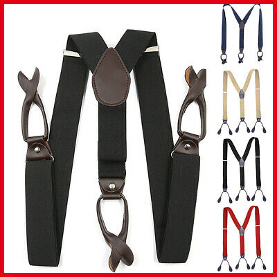 Mens Leather 6 Button Hole 3.5CM Navy Grey Suspenders Black Braces Red Wide
