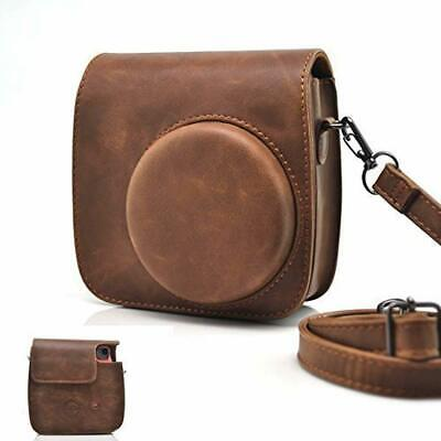 HelloHelio Classic Vintage PU Leather Compact Case with Strap for Fujifilm Insta