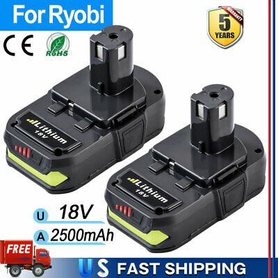 2XFor Ryobi P108 18V 2.5Ah Lithium Ion Battery Pack Replaces P122 P105 P103 P102