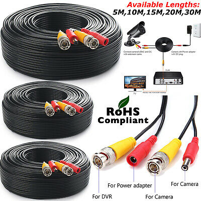 5m 10m 20m 30m BNC DC CCTV Security Video Camera DVR Data Power Extension Cable