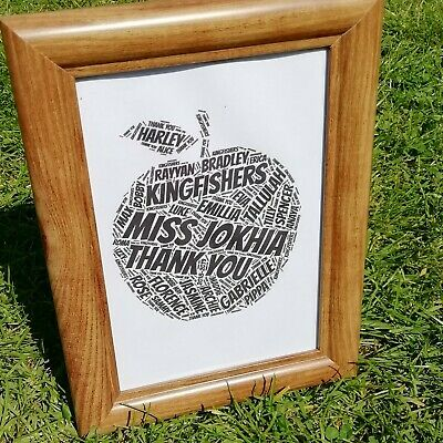 End of Year Teacher Thank You gift, Teaching assistant, word art picture frame
