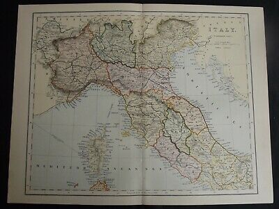 Antique Map: Italy (Northern Part), Europe, c 1880, Colour