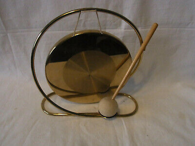 Mid Century 60s 70s Brass Table Gong #J