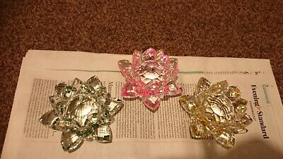 3 Large Glass Crystal Lotus Flower Ornaments/ Feng Shui Decor/Pink, Green and ye