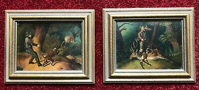 Pair Of Antique European Oil Paintings On Metal Stag Hunting With Hounds