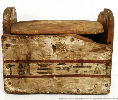 Antique Or Late Period Antiquity Egyptian Hieroglyphics Ushabti Wood Box Casket