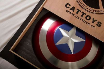 Cattoys Captain America Metal Shield 1:1 Prop Replica with Wooden Shipping Case