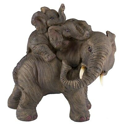 """Elephant Family Mother With Babies On Back Figurine 5.25"""" High Resin Statue New"""