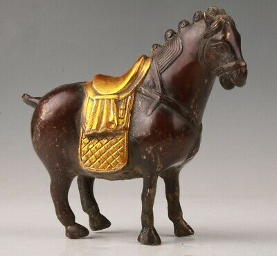 Precious Chinese Red Copper Gilt Hand Carving Horse Statue Animal Old Collection