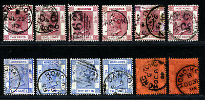Hong Kong Victoria 1882 - 1902 Early Period Issues Fine Used Lot.   A354