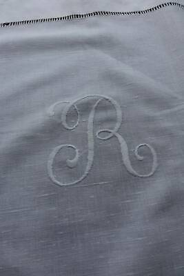 "Antique hand embroidered white Irish linen topper - monogram ""R"" & crochet lace"