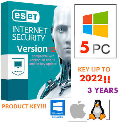 🌟 ESET Internet Security 2019 • License Up to 2022 - 5 PC • Product Key 3 Years