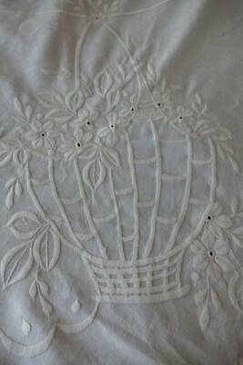 Large antique white cotton bedspread - white hand embroidery Flower Baskets.