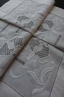 Vintage white Irish linen tablecloth - lovely hand embroidery & punchwork