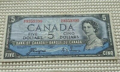 1954 Bank of Canada 5 Dollar Devils Face Note