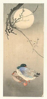 Genuine original Japanese woodblock print Koson 2 Ducks Branch Moon