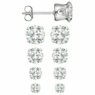 Sterling Silver Set of 4 Sizes .925  Round CZ Studs Earrings 2.5, 3, 4, 5 mm NEW